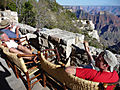 tired runners back at the north rim (grand canyon)